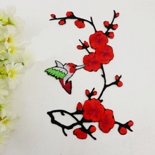 New Floral Plum Blossom Patch Embroidery Lace  Applique Iron on DIY Clothes  Dress Rose Collar Embroidered Fabric Sticker.