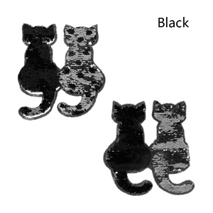 Large Black Silver Cat Sequins Patch sew on Embroidery Applique  DIY Craft Costume Embellishment Dress Denim Jacket Shirt Backpack Accessory