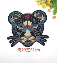 Large Black Leopard Cat Sequin Patch sew on Embroidery Applique  DIY Craft Costume Embellishment Dress Denim Jacket Shirt Backpack Accessory