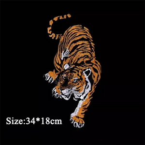 Large Tiger Patch Iron On Heat Transfer Embroidery Applique for DIY Craft Costume Embellishment Dress Denim Jacket Shirt Backpack Accessory#2