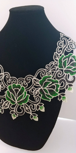 Large Green Black Floral Lace Fabric Embroidery Neckline Collar Patches Applique  Clothes Sewing Accessories. Sew on