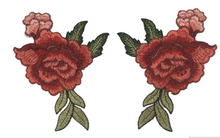 2 pcs/set New Red Rose Floral Patch Embroidery Lace  Applique Sew on. 2Pcs/set DIY Clothes  Dress Rose Collar Embroidered Fabric Sticker