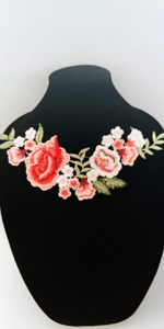 Red Pink  Rose Lace Fabric Embroidery Neckline Collar Lace Patches Applique . Clothes Sewing Accessories Sew on.  shipping from USA.