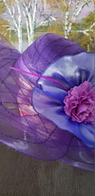 Purple Bllue Wedding Bridal Church Tulle Hat. Breathable women summer sun hat Kentucky Derby polyester feather wide brim floral women hats