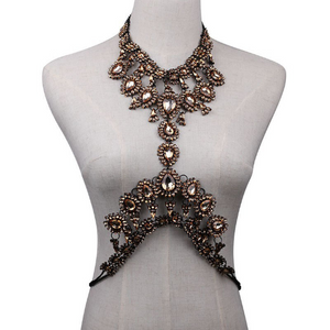 Hollow Bra Chain  Brassiere Body Jewelry. Crystal Statement Body Chain Necklace  Body Accessories.