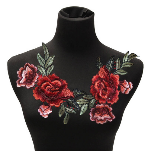 2 pcs/set New Floral Patch Embroidery Lace  Applique Sew on. 2Pcs/set DIY Clothes  Dress Rose Collar Embroidered Fabric Sticker.