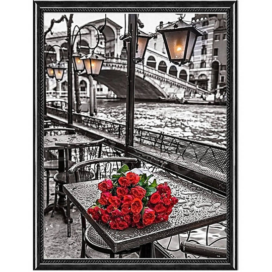 Diamond Painting kit DIY Gray Paris . Floral Red Rose Flowers Mosaic  Embroidery Drill rhinestone painting .Cross Stitch Crystal Needlework.