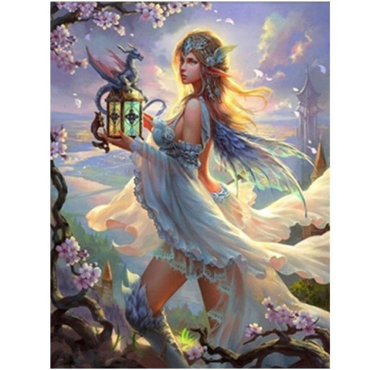 Large Diamond Painting kit Dragon Girl Fairy Flowers  Mosaic Embroidery  rhinestone painting Cross Stitch Crystal Needlework Kids Activity