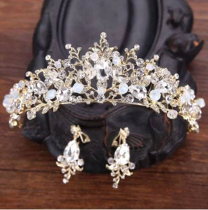 Luxury Wedding Rhinestones Hair Accessories Jewelry Set Tiara Earrings  Crystal Floral Tiaras Crown With Earrings Princess Hair Jewelry