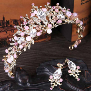 Luxury Wedding Hair Accessories.  Jewelry Rhinestones Set For Bride Shiny  Crystal Floral Tiaras Crown With Earrings Princess Hair Jewelry