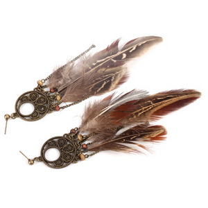 Drop Feather Earrings Bohemian  Dream catcher Tassel Earrings Tribal America Native