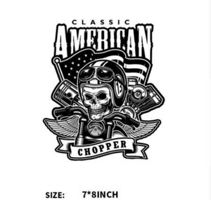 Large Motorcycle Bike  Scull Rider Patch Iron On  Heat Transfer  Applique  DIY Craft  Embellishment Dress T-shirt  Denim Jacket  Backpack