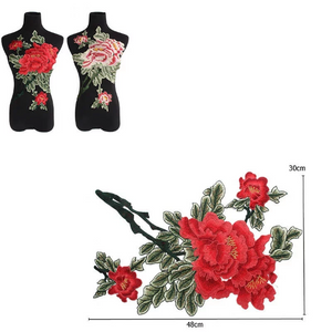 3D Red  Rose Lace Fabric Embroidery Neckline Collar Lace Patches Applique . Clothes Sewing Accessories Sew on. Floral Rose Patch on