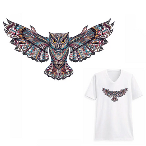Large Owl Bird  Patch Iron On Heat Transfer . Applique for DIY Craft. Costume Embellishment. Dress Accessory.