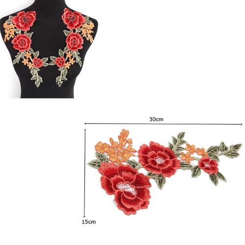 2 pcs/set  Floral Patch Embroidery Lace  Applique Sew on.  DIY Clothes  Dress Rose Collar Embroidered Fabric Sticker.Dress T-Shirt Jacket