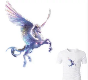Large Pegasus Horse Unicorn Patch Iron On.  Heat Transfer  Applique for DIY Craft . Embellishment T-shirt  Denim Jacket  Backpack Accessory.