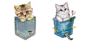 Set of 2 Cat Patch Iron On Heat Transfer Embroidery Applique for DIY Craft Embellishment  Accessory T-shirt Dress Sweater Jeans Denim Jacket Backpack