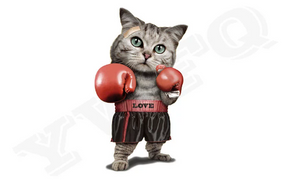 Large Boxing Cat Patch Iron On Heat Transfer Embroidery Applique for DIY Craft  Embellishment Dress T-shirt Jacket Jeans Backpack Accessory.