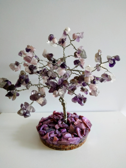 Blue Purple Resin Gemstone Tree of life. Amethyst beaded tree .Wire sculpture Bonsai Blossom Feng Shui. Family tree.Keepsake Paperweights.