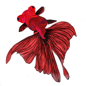 Extra Large Red Fish Embroidered Patches Sewing  Applique Diy  Sticker Lace  Fabric  Sewing Accessories. Sew on. Shipping from USA