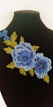 3D Blue floral Rose Lace Fabric Embroidery Neckline Collar Lace Patches Applique . Clothes Sewing Accessories Sew on. Floral Patch  Sew on