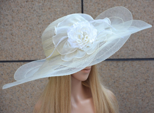 White Cream Tulle breathable women summer sun hat Kentucky Derby polyester feather wide brim floral women hats