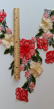Large Red Pink Yellow floral Rose Lace Fabric Embroidery Neckline Collar Lace Patches Applique . Clothes Sewing Accessories Sew on. Floral Patch  Sew on
