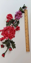 Large Red Pink floral Rose Lace Fabric Embroidery Neckline Collar Lace Patches Applique . Clothes Sewing Accessories Sew on. Floral Patch  Sew on