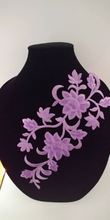 Large Purple Floral  Patch Iron On.Heat Transfer Embroidery Applique for DIY Craft Costume Embellishment. Dress Denim  Accessory.Washable .