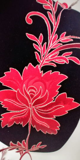 Extra Large Red Floral  Patch Iron On.Heat Transfer Embroidery Applique for DIY Craft Costume Embellishment. Dress Denim  Accessory.Washable .