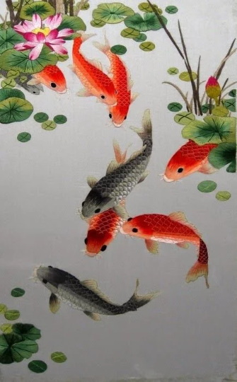Red Golden Fish Koi pond  Diamond Painting kit DIY painting style Classical. Cross Stitch Crystal Needlework Embroidery.Diamond Mosaic.