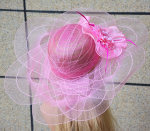 Pink Tulle breathable women summer sun hat Kentucky Derby polyester feather wide brim floral women hats