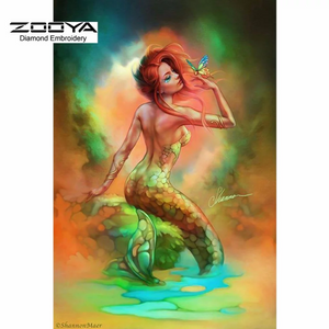 3D Large Mermaid Butterfly Flowers Diamond Painting kit DIY painting style Classical. Cross Stitch Crystal Needlework Embroidery.Diamond Mosaic.