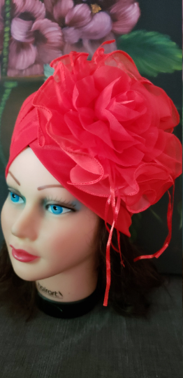 Women Red Retro Turban Summer Hat .Kentucky Derby Polyester  Floral women hats. Chemotherapy Hat. Funeral Wedding Hat.