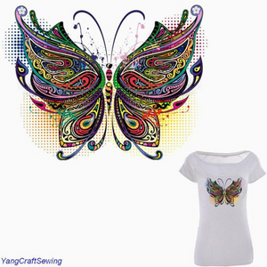 Large Mosaic Butterfly Patch Iron On Heat Transfer Embroidery Patch. Applique DIY Craft.Costume Embellishment. Dress Accessory .Washable patch.