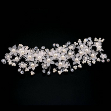 Elegant Floral Headbands For Women Pearl Flower Tiaras Jewelry Luxury Wedding Bride Hairband Head Band Accessories.Hair swag.