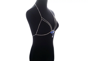 Women Hollow Bra Chain  Brassiere Body Jewelry. Crystal Statement Body Chain  Choker  Necklace
