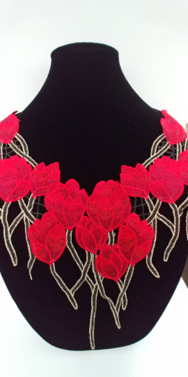 Red Tulips Rose Lace Fabric Embroidery Neckline Collar Lace Patches Applique Motif Clothes Sewing Accessories. Sew on. Shipping from USA