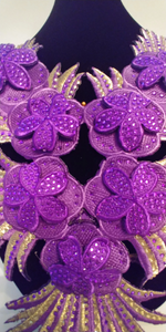 Large Purple Beaded Rhinestones Lace Collar Patches  Cord Applique Iron On Sticker Embroidery Collar Sewing Accessories. Shipping from USA