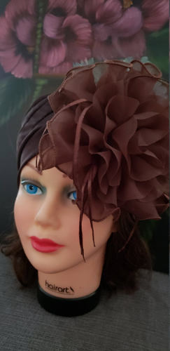 Women Brown Retro Turban Summer Hat .Kentucky Derby Polyester  Floral women hats. Chemotherapy Hat. Funeral Wedding Hat.