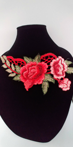 3D Red  Rose Lace Fabric Embroidery Neckline Collar Lace Patches Applique . Clothes Sewing Accessories Sew on. Floral Patch  Sew on