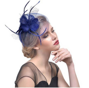 Navy Blue and Royal Blue Wedding Church Party Fascinator Hat.Costume Bridal Veil Wedding Hair Clip Head Accessory.White Funeral Derby Fascinator hat.Headpiece