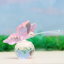 Crystal Glass Pink Butterfly Figurines Paperweights Crafts Figurine  For Home Wedding Decor.Butterfly resin keepsake paperweight.
