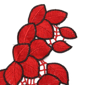 3D Red Leaves Lace Fabric Embroidery Neckline Collar Lace Patches Applique . Clothes Sewing Accessories Sew on. Floral Patch  Sew on