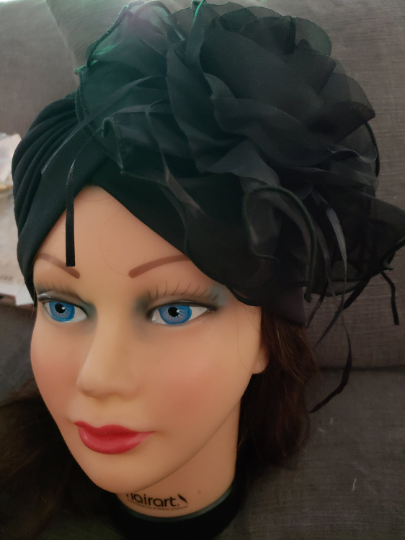 Women Black Retro Turban Summer Hat .Kentucky Derby Polyester  Floral women hats. Chemotherapy Hat. Funeral Wedding Hat.