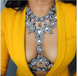 Women Hollow Bra Chain  Brassiere Body Jewelry. Crystal  Body Chain  Necklace  Body Accessories.