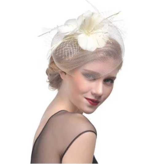 Wedding Church Tea Party Fascinator Hat.Costume Feather Bridal Wedding Hair Clip Head Accessory. Derby Fascinator hat.Headpiece