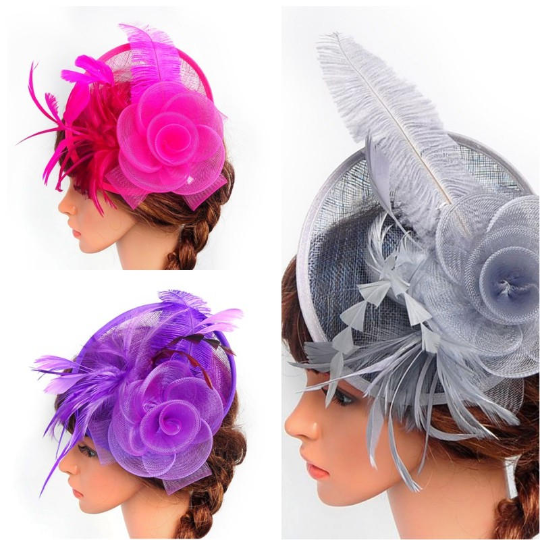 Grey, Purple, Pink Wedding Church Party Fascinator Hat.Costume Bridal Veil Wedding Hair Clip Head Accessory.White Funeral Derby Fascinator hat.Headpiece