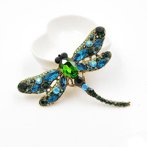 Green Blue  Vintage Design  Crystal Rhinestone Dragonfly Brooches for Women Dress Scarf Brooch Pins Jewelry Accessories Gift. Large brooch.