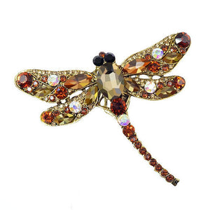 Amber Gold Vintage Design  Crystal Rhinestone Dragonfly Brooches for Women Dress Scarf Brooch Pins Jewelry Accessories Gift. Large brooch.